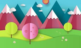 Flat design nature landscape illustration with blue and pink mountains, hills, flowering trees and clouds. Spring and royalty free illustration