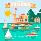 Flat design  nature landscape illustration with lighthouse tugboats sailing boat, air balloon. Summer vacation Stock Images