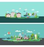 Flat design nature landscape tourism web poster Stock Photography