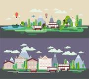 Flat design nature landscape tourism web poster  Royalty Free Stock Image