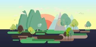 Flat design nature landscape tourism web poster Stock Images