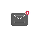Flat Design of New Message Notification Icon. Flat design of envelope represent new message notification Royalty Free Stock Image