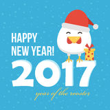 Flat design new year card with cute cartoon rooster in santa hat, symbol of the year 2017.  royalty free illustration