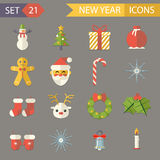 Flat Design New Year Symbols Christmas Accessories Stock Image