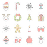 Flat Design New Year Symbols Christmas Accessories. Flat New Year symbols christmas accessories Icons Set Greeting Card Elements Trendy Modern Flat Design royalty free illustration