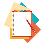 Flat design notepad, paper sheet Stock Photos