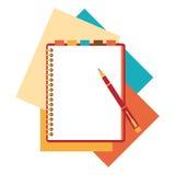 Flat design notepad, paper sheet Stock Photos