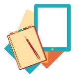 Flat design notepad, paper sheet Royalty Free Stock Photos