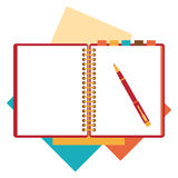 Flat design notepad, paper sheet Stock Images