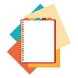 Flat design notepad with paper sheets. Stock Photo