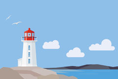 Flat Design Nova Scotia landscape with Peggys Cove lighthouse Royalty Free Stock Image
