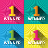 Flat design number one first place winner and badg. Flat design bright colors number one first place winner and badges Stock Photos