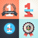 Flat Design Number One Winner ribbons and badges. Flat Design Number One First Place Winner ribbons and badges Stock Image