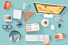 Flat design objects, work desk, long shadow, office desk, computer and stationery. Vector illustration
