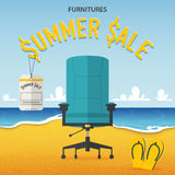 Flat design of office chair on beach and sea background in furniture summer sale concept . Royalty Free Stock Images