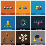 Flat design of office people vector icons. Showing appraisal, recruitment, interviews, meetings Royalty Free Stock Photos