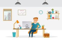 Flat design office. Flat style color modern vector illustration. Vector modern creative flat design illustration designer at work. Businessman in the office flat Royalty Free Stock Images