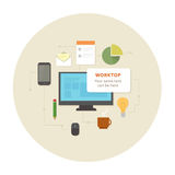 Flat design office work pictograms set Stock Photography
