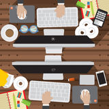 Flat Design Of Office Worker Desk With Office Supply Vector Stock Photography