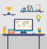 Flat design of office workspace creative worker Royalty Free Stock Image