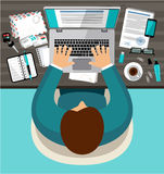 Flat design of office workspace Stock Image