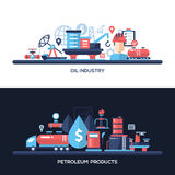 Flat design oil and gas industry website headers banners set Vector Illustration