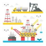 Flat design oil rig set Stock Image