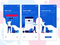 Flat Design Oneboarding Concepts - Travel app royalty free illustration