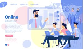 Flat design online education concept