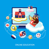 Flat design for online education concept with an owl Stock Photography