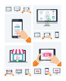 Flat design online shop website on various devices, purchasing via internet, on-line shopping infographic template Royalty Free Stock Image