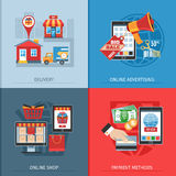 Flat Design Online Shopping Concept Royalty Free Stock Photography