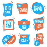 Flat design origami Discount Labels Stock Photo