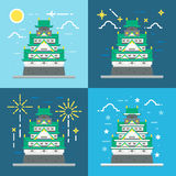 Flat design of Osaka castle Japan Royalty Free Stock Photo