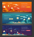 Flat design outdoors activity and tourism landscapes banners set Stock Photos