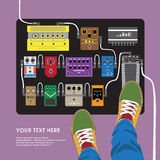 Flat design pedal effects board with guitarist top view Royalty Free Stock Image