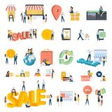 Flat design people concept icons isolated on white Royalty Free Stock Image