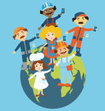 Flat design people on globe. Flat design illustration of cartoon people standing on the globe holding mobile phones in their hands. Cartoon people representing Stock Image