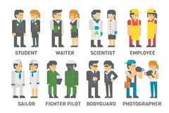 Flat design people with professions set Royalty Free Stock Image