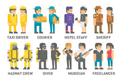 Flat design people with professions set Royalty Free Stock Images