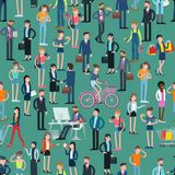 Flat Design People Vector Seamless Pattern Stock Images