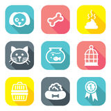 Flat Design Pet Icons Stock Images