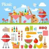 Flat Design Picnic BBQ elements Vector. Illustration Royalty Free Stock Photography