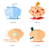 Flat design piggy bank icons concepts of finance. And business on white,frozen accounts, fast money, blood money, solid money Royalty Free Stock Photo