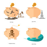 Flat design piggy bank icons concepts of finance and business on white,oil accounts, gas money, easy money, dangerous money. Flat piggy bank icons concepts of Royalty Free Stock Image