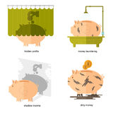 Flat design piggy bank icons vector illustration concepts of finance and business. Piggy bank icons for finance and business hidden profits shadow income dirty Royalty Free Stock Photos