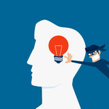 Flat design Piracy concept. Thief stealing light bulb idea from a head. Royalty Free Stock Photography