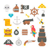 Flat design pirate items Royalty Free Stock Image