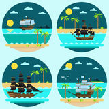 Flat design of pirate ships sailing Stock Photo