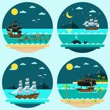 Flat design of pirate ships sailing Royalty Free Stock Photography